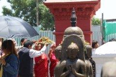 Stein Buddha in Tempelanlage Swayambhunath