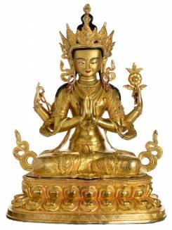 Chenrezig/Avalokiteshvara - Replika Buddha Statue vollfeuervergoldet