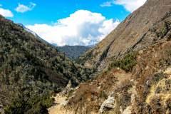 Himalaya-Kalapatar-Straeucher-Baeume-Im-Gebirge-Stupa
