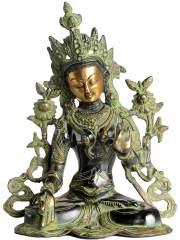 Weiße Tara Statue mit grünem Puder