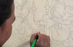 Thangka Malerei Konturen Zeichnen