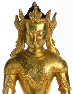 Akshobhya Buddhafigur mit Krone gold