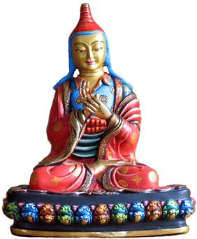 Atisha Statue bunt bemalt