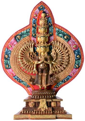 Avalokiteshvara Statue Feuervergoldet
