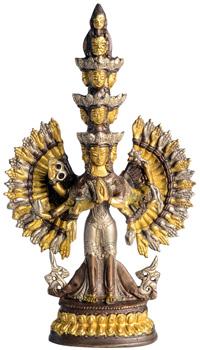 Avalokiteshvara Statue Gold-Silber