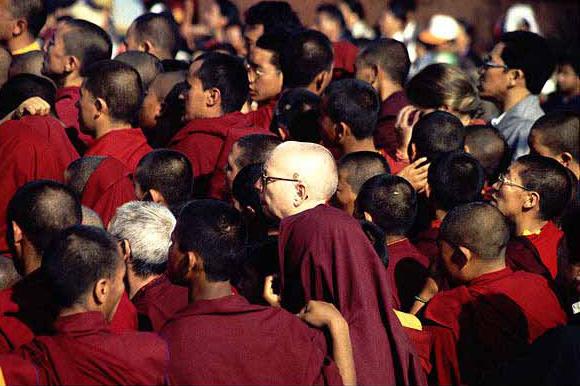 Buddhistische Mönche auf dem Neujahrsfest Lhosar in Bouddhanat, Kahtmandu.