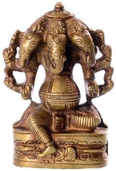 Ganesha Heremba Statue mit fünf Köpfen aus Messing