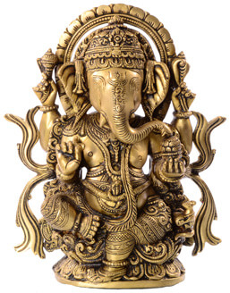 Ganesha Statue sitzend mit Süßigkeiten Schale