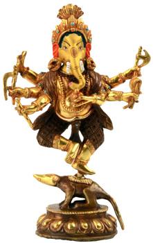 Ganesha Tanzend Nrtta Ganapati Statue Feuervergoldet