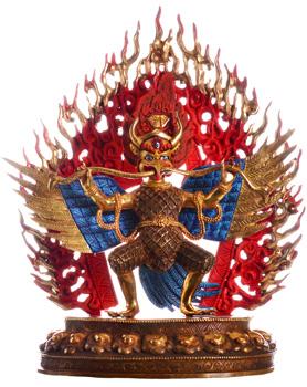 Garuda Statue Feuervergoldet