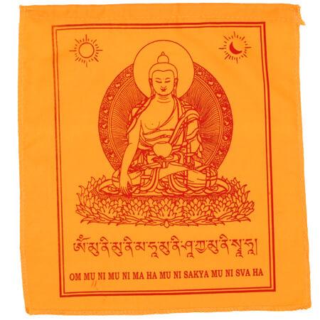 Gebetsfahnen Buddha Shakyamuni in Orange - Verwendung Gottheiten