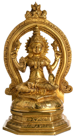 Lakshmi Statue aus Messing