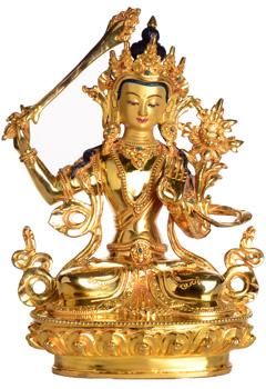 Manjushri Statue Vollfeuervergoldet