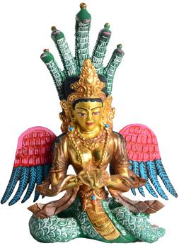 Naga Kanya Statue Feuervergoldet