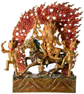 Palden Lhamo Statue Vollfeuervergoldet