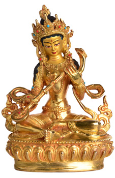 Saraswati Statue Vollfeuervergoldet