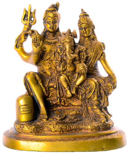 Shiva mit Familie Statue aus Messing