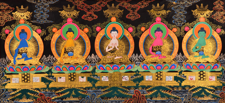 Thangka 5 Transzendenten Buddhas Bodhisattvas