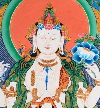 Thangka Avalokiteshvara Darstellung Sadaksari Lokeshvara