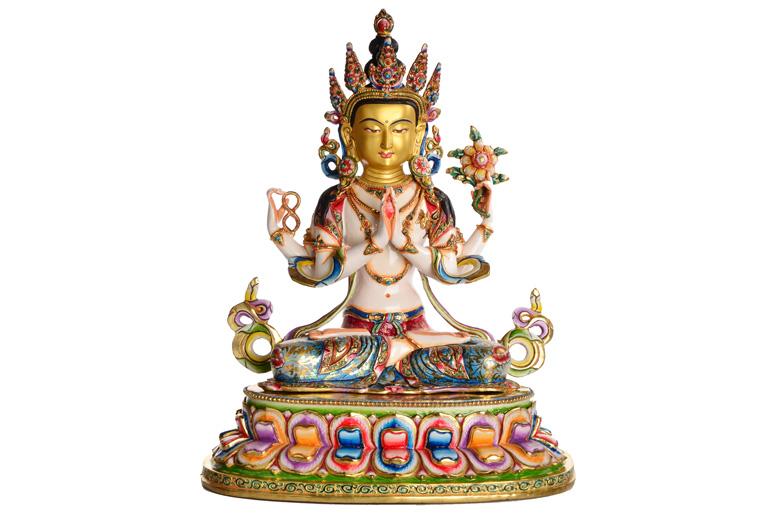 Avalokiteshvara Chenrezig Statue Vollfeuervergoldet und Bunt bemalt