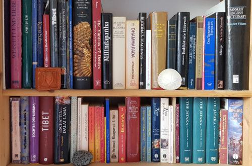 Bücherregal mit Büchern zum Thema Buddhismus, Hinduismus und Tibet