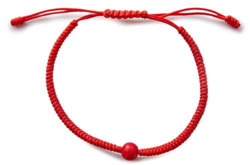 Chakra-Armband rot mit Perle