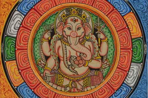 Handgemalter Thankga mit Ganesha Gottheit in der Mitte.