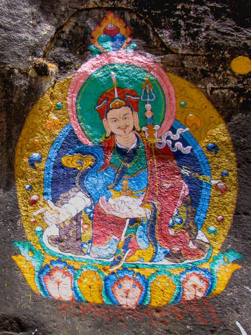 Thangka auf Felsen Padmasambhava / Guru Rinpoche