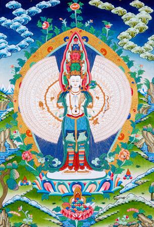 Thangka Avalokiteshvara als Ekadasa-Mahakarunika Lokeshvara