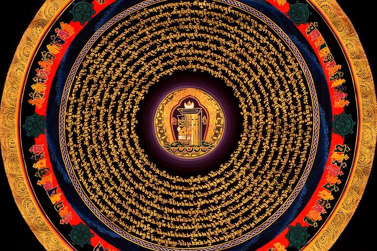 Thangka Kalachakra Mandala Mantra Ausschnitt