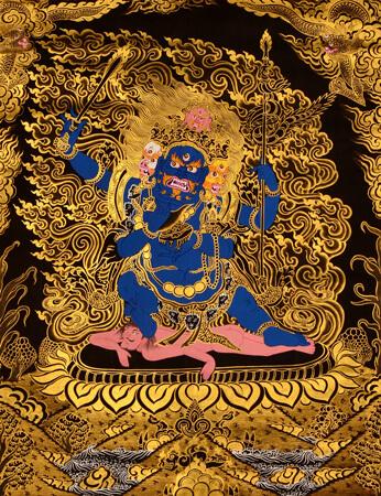 Thangka Mahakala mit goldfarben auf schwarzem Hintergrund
