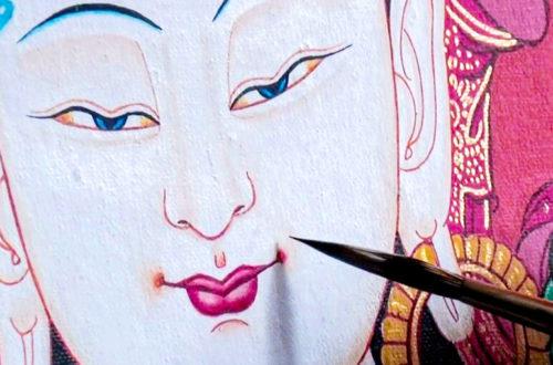 Thangka Malerei Buddha Gesicht Zeichnen