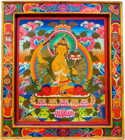 Thangka Manjushri auf Holztafel