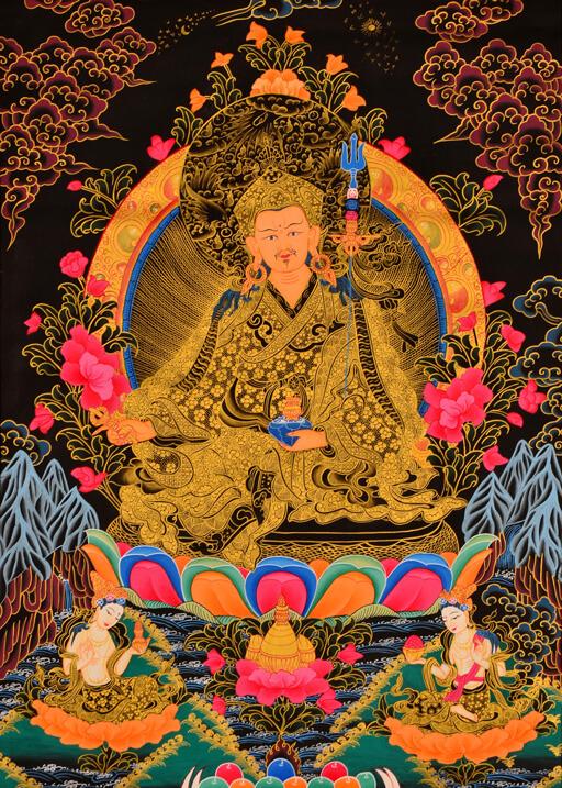 Thangka Padmasambhava mit Goldfarben und schwarzer Hintergrund