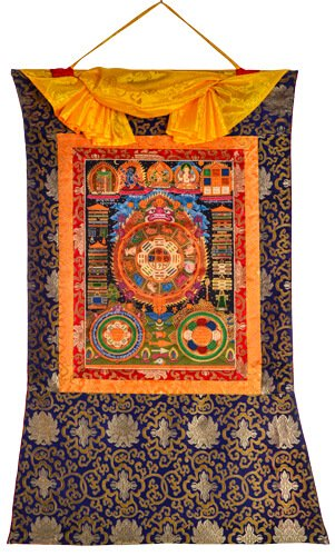 Thangka Tibetischer Kalender Brokat Rand