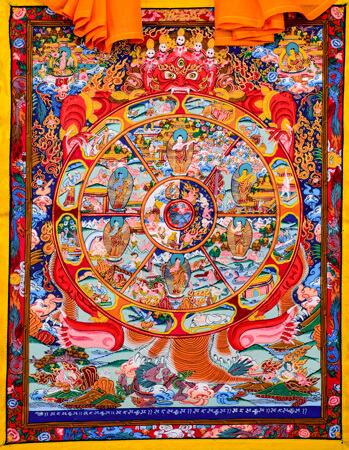 Thangka Wheel of Life roter Hintergrund