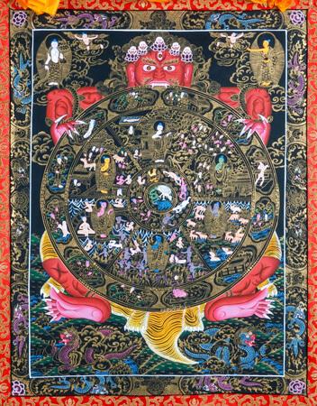 Thangka Wheel of Life schwarzer Hintergrund