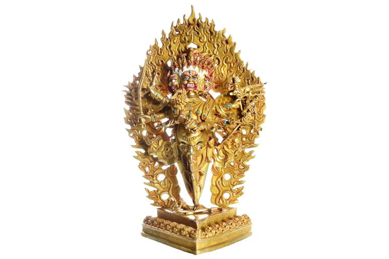 Vajrakila Heruka Statue Vollfeuervergoldet