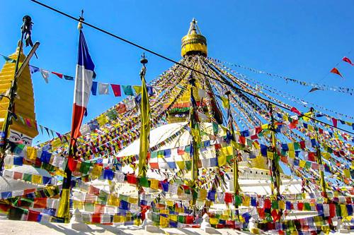Stupa Boudhanath, Kathmandu mit Gebetsfahnen